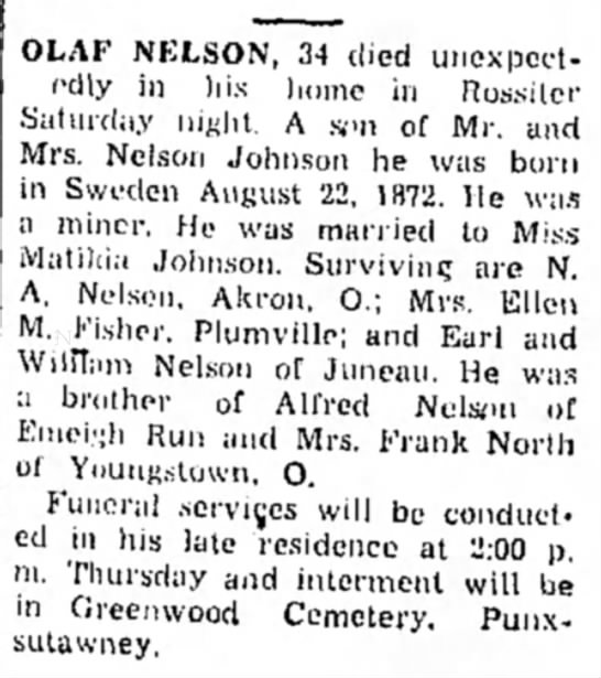 Nelson, Olaf; death notice, 24 Dec 1940 -