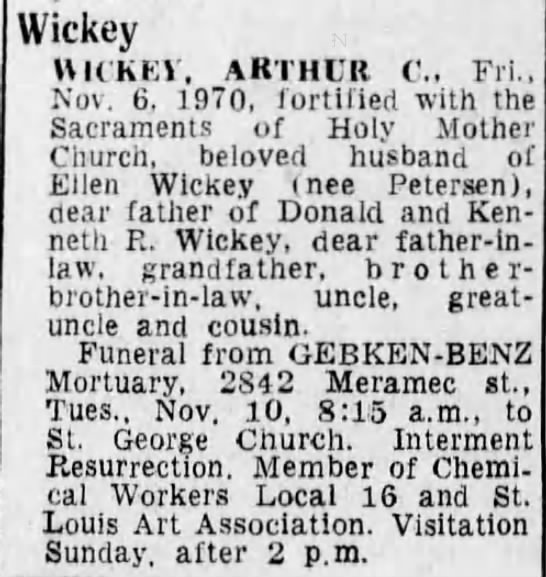 Arthur C Wickey Obituary -