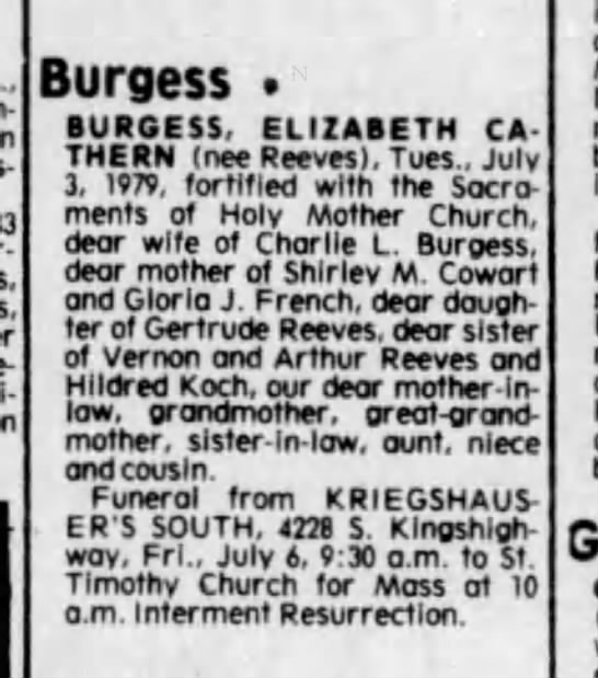Elizabeth Cathern Burgess, Obituary 5 Jul 1979 -