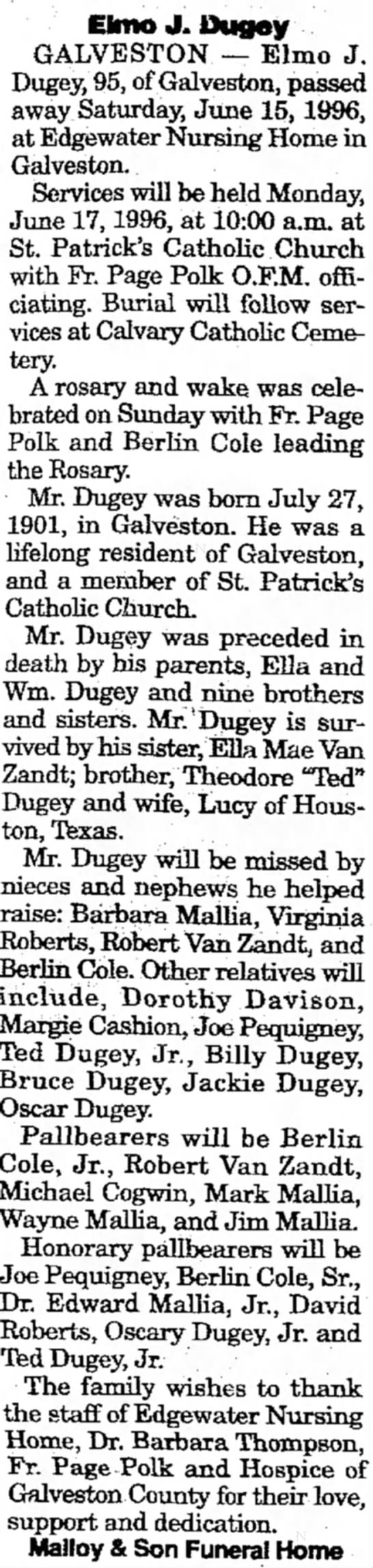 Uncle's obit. 6/17/1996 -