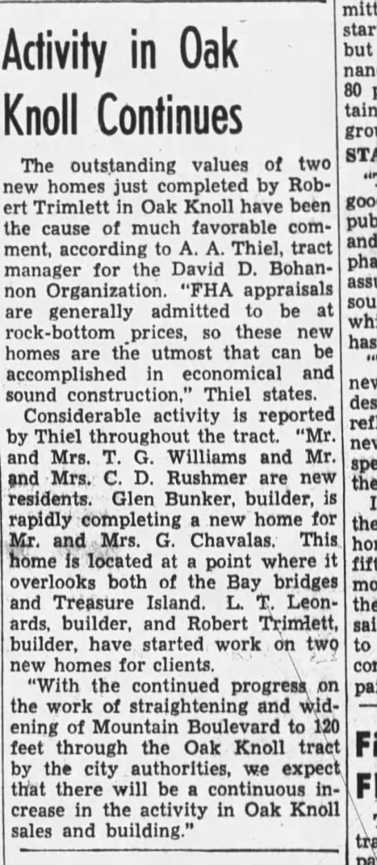 Activity In Oak Knoll Continues - Oakland Tribune October 29, 193 -