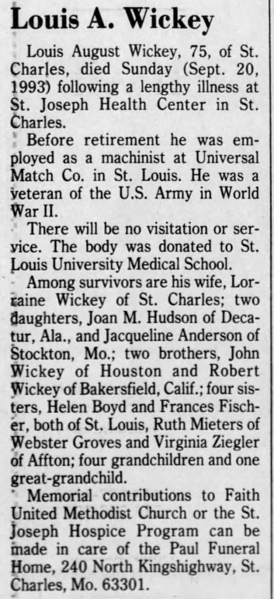 Louis Wickey Obituary -
