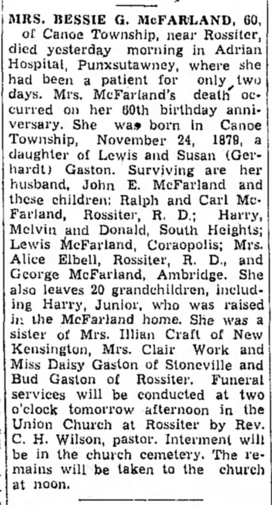 Bessie Gaston McFarland obituary 24 Nov 1939 -