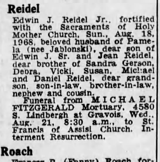 - Reidel Edwin J. Reidel Jr.. fortified with the...