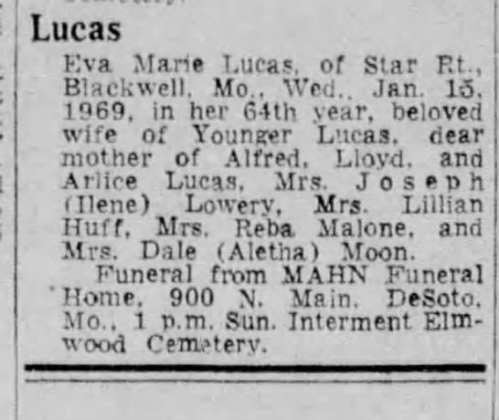 Eva Marie Lucas, obituary in the St  Louis Post Dispatch 17 JAN 1969