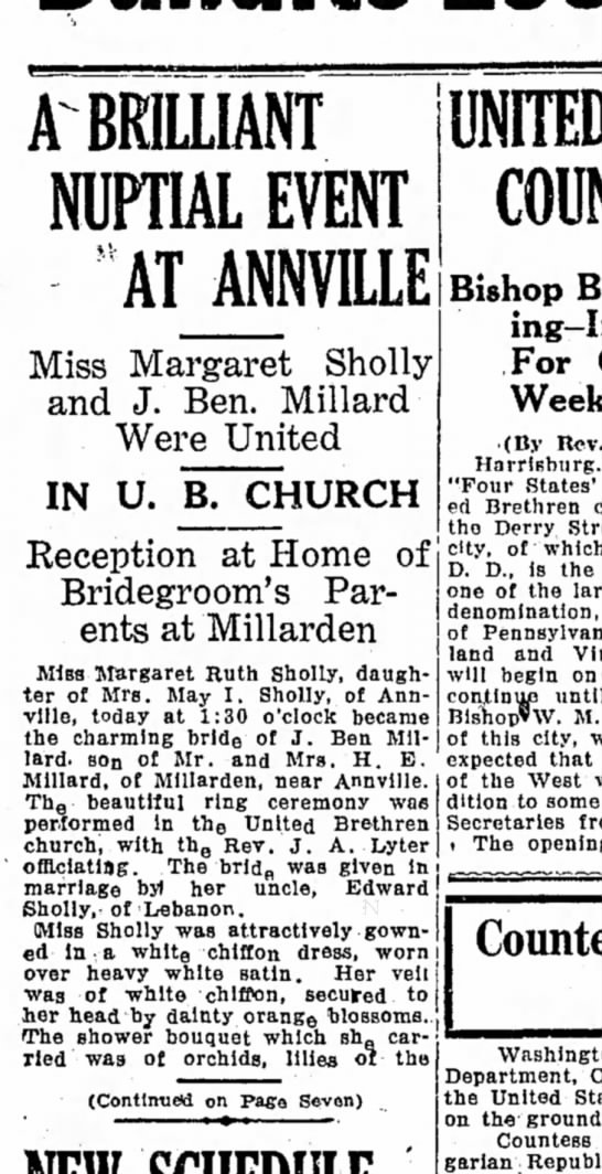 1925 October 22 pg 1 - BRILLIANT NUPTIAL EVENT ATANNVILLE Miss...