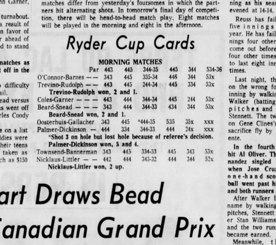 Ryder Cup Morning Matches Scores 1971 Old Warson - Newspapers com