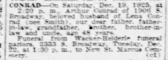 Jerry's Grandfather's death notice in St Louis Post Dispatch Sunday 20 Dec 1925 -