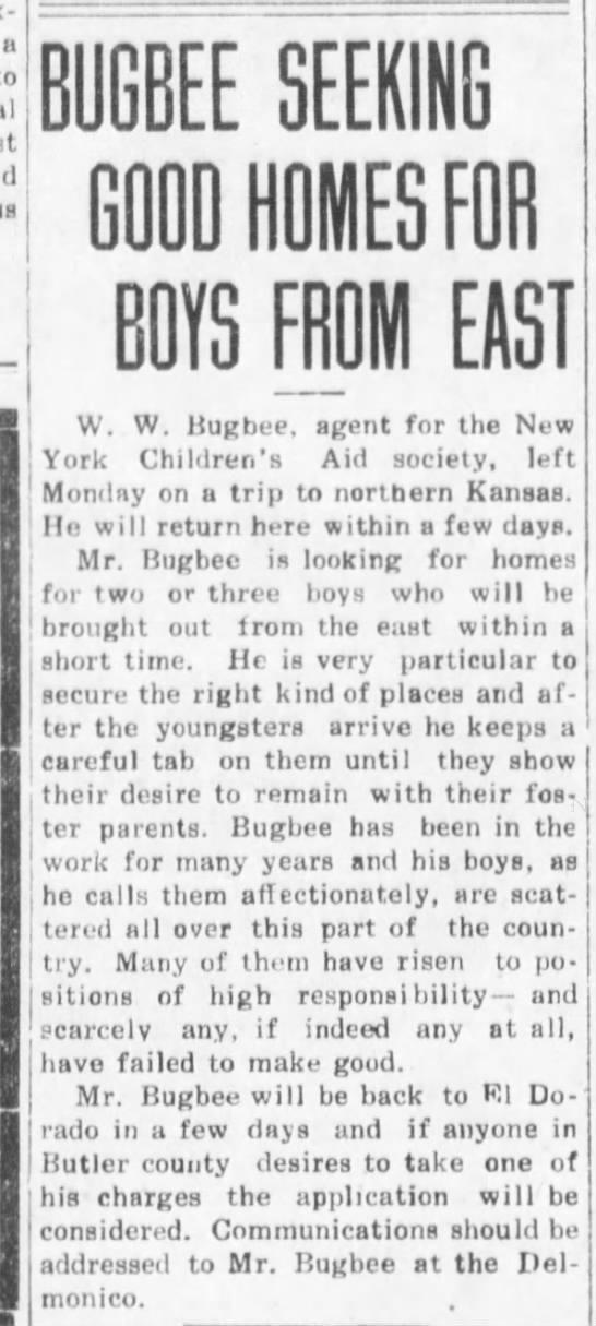 Bugbee seeks homes for boys. -