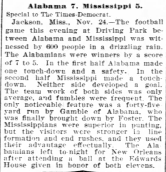 """Alabama 7, Mississippi 5,"" 11/25/1899, The Times-Democrat, p.7 -"