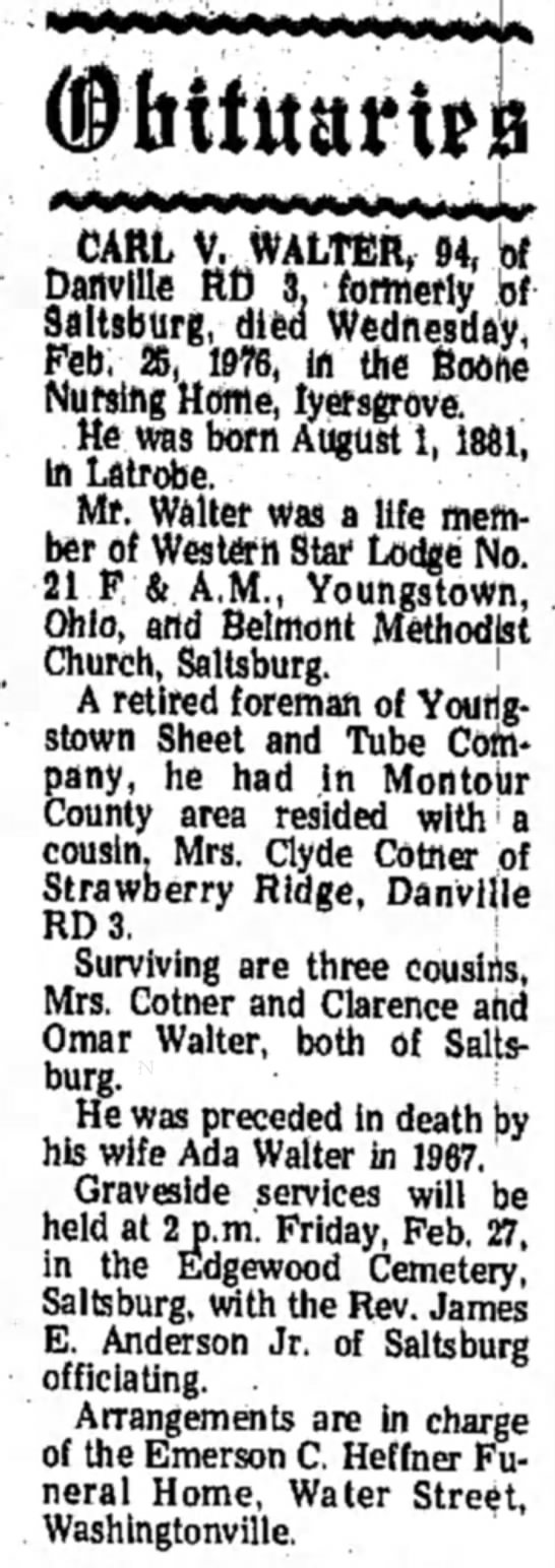 Carl V Walter Obituary Indiana Gazette 26 Feb 1976 -
