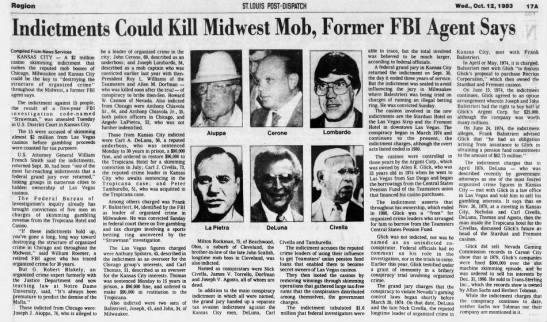 Indictments Could Kill Midwest Mob, Former FBI Agent Says -