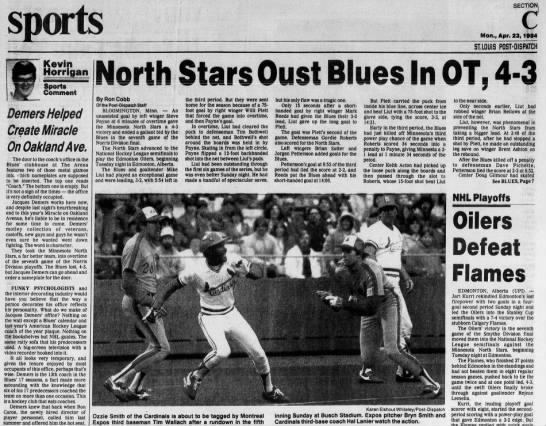 April 2: Minnesota 4, Blues 3 -
