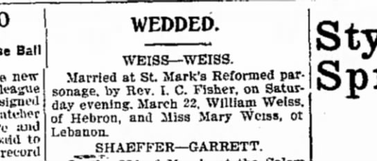 1902 March 24 Marriage of Mary Weiss & William Weiss -