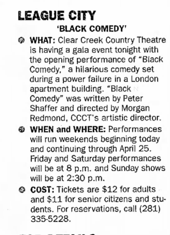 Opening night Black Comedy April 1999 -