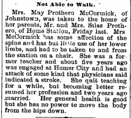 """- Not Able to Walk. """" Mrs. May Prothero..."""