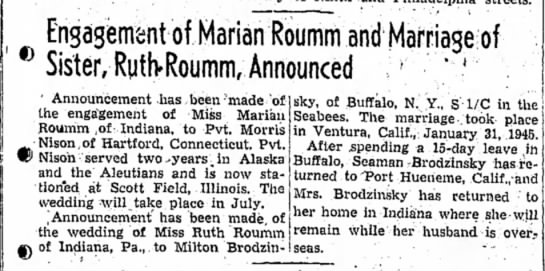 Marian Roumm engaged, sister Ruth Roumm married, 9 Apr 1945 - Engagement of Marian Roumm and Mafriage;of...
