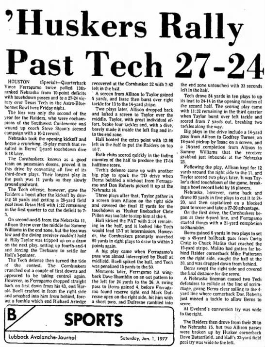 1976 Astro-Bluebonnet Bowl, Lubbock newspaper report -