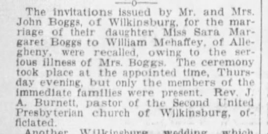1900_Oct 14_Pgh Press_pg 16_Wed Announcement_Wm Mehaffey_Sara Margaret Boggs_by TinaBW -
