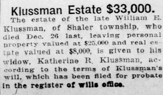 William E. Klussmann will -