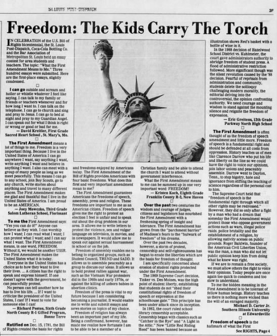 In 1991, a young Eric Greitens wrote an essay to the Post-Dispatch. -
