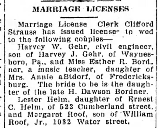Lester Helm and Margaret Roof - Marriage License -