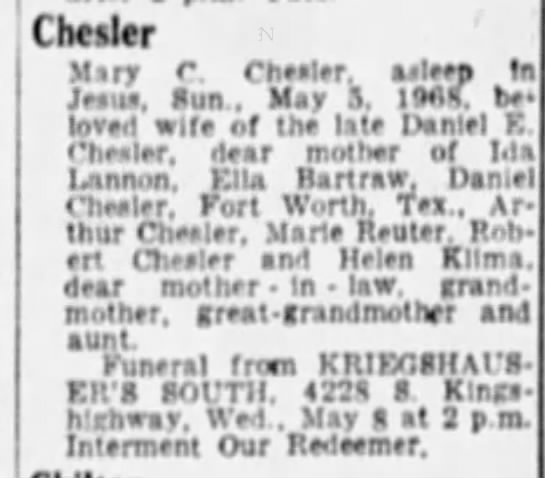 Mary Chesler Obituary St. Louis Post Dispatch, 7 May 1968, Page 20. -