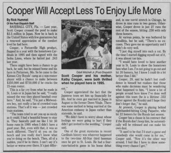 Cooper Will Accept Less To Enjoy Life More -
