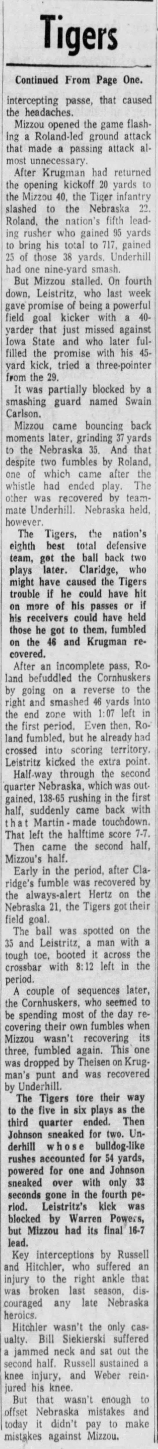 1962 Nebraska-Missouri part 2 St. Louis -