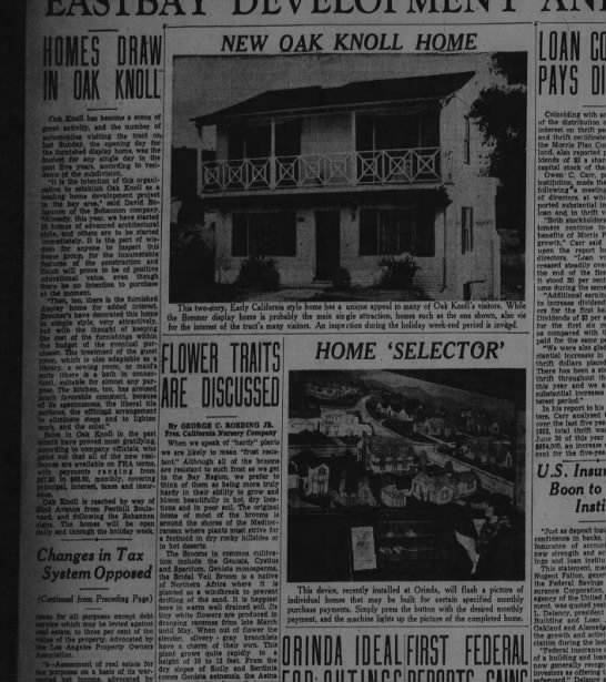 Homes Draw in Oak Knoll - Oakland Tribune July 04, 1937 -