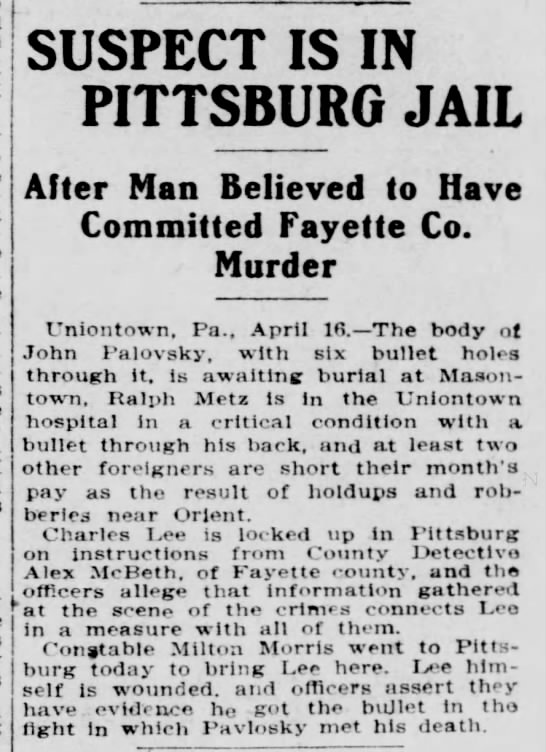John PAVLOSKY murdered in Fayette County, PA - Newspapers com