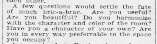 Questions to decrease amound of bric-a-brac in the home, 1906 -