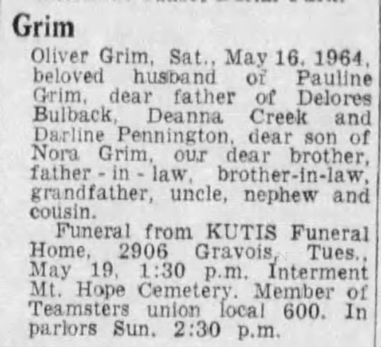 45 4 1 2^1 Oliver Grim Obituary, St  Louis, Missouri, St
