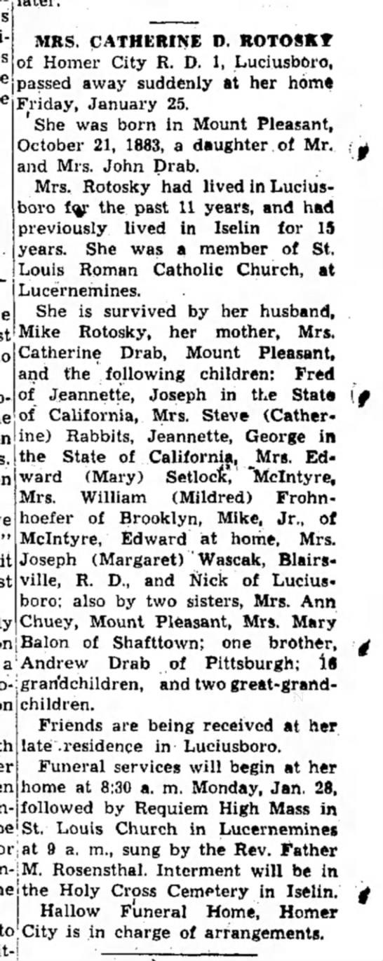 Catherine Rotosky Obituary, The Indiana Gazette 26 January 1952 -