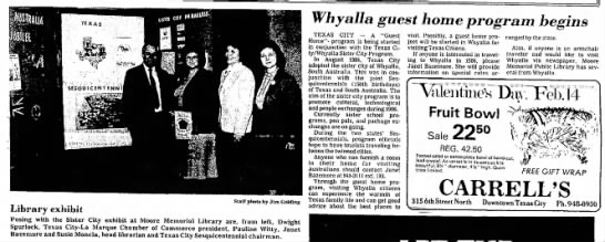 Whyalla guest home program begins - Texas City, USA (1985) -