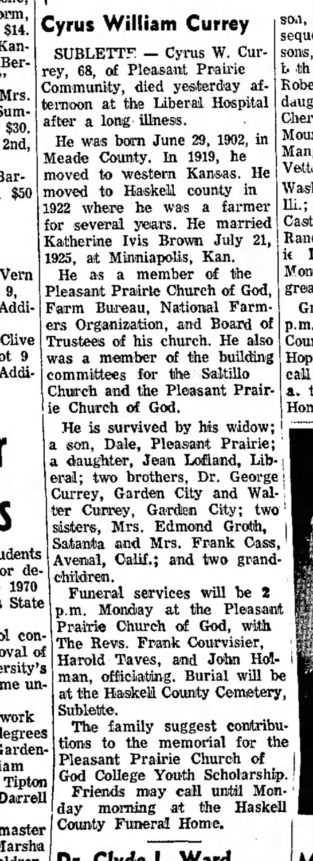 Cyrus William Currey Obit sep 12 1979 -