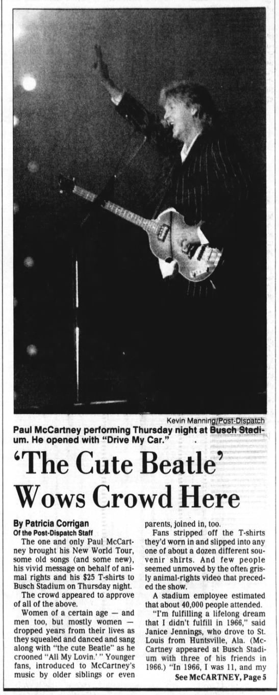 4/30/1993: Paul McCartney hits a home run with perfromance at Busch. -