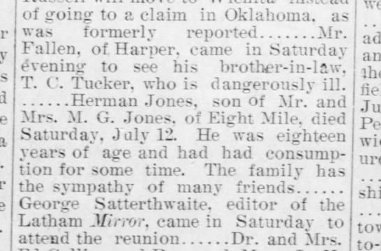 El Dorado (Kansas) Republican, 18 Jul 1902, death of Herman Jones. -