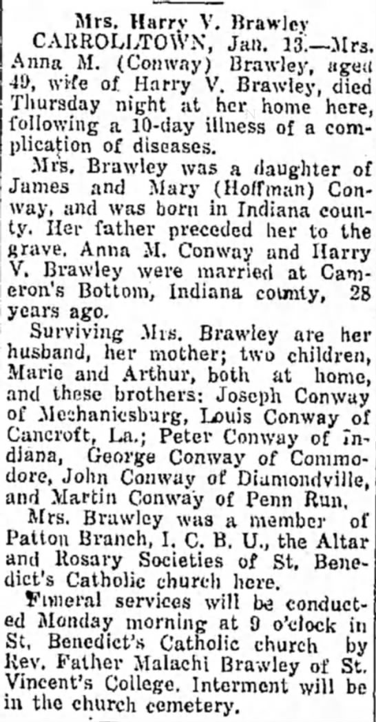 Anna Mary Conway Brawley obituary -