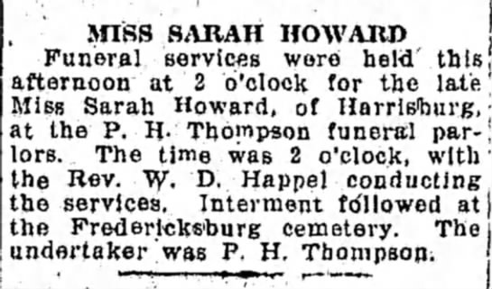 Sarah (Sallie) Howard Funeral