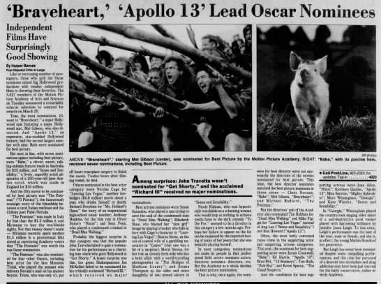 """'Braveheart', 'Apollo 13' Lead Oscar Nominees"" page 4A -"
