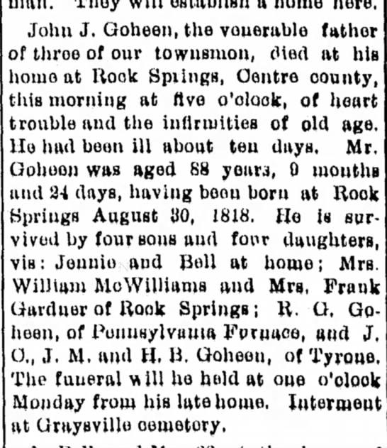 john j goheen dated 24 may 1907 -