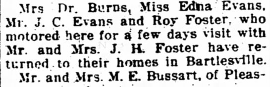 roy foster - Mrs Dr. Burns, Miss Edtoa'Evans, Mr. J. C....
