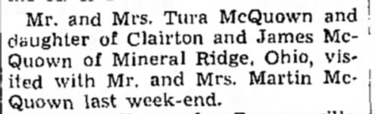 Tura McQuown news-Indiana Gazette-19Jan1940 - Mr. and Mrs. Tura McQuown and daughter of...