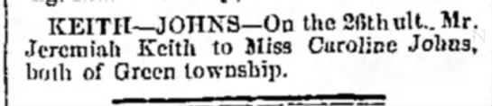 Marriage announcement of Jeremiah Keith to Caroline Johns dated 7 Mar 1874 -