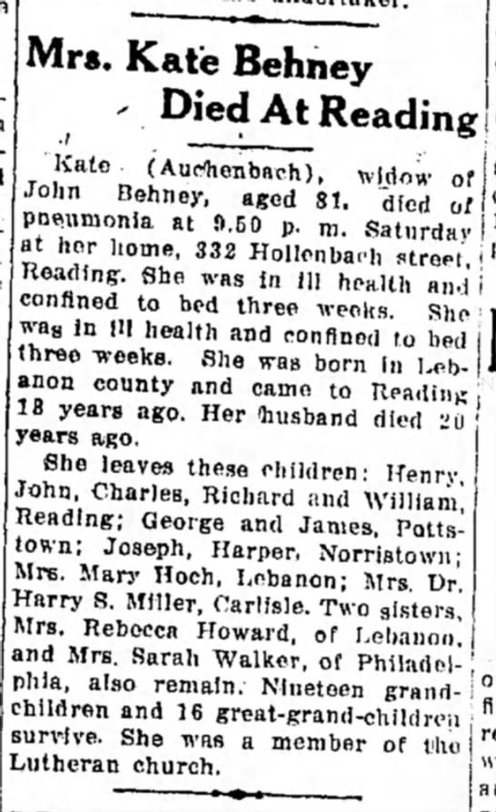 Anspach Howard, Rebecca sister,  Kate obit 