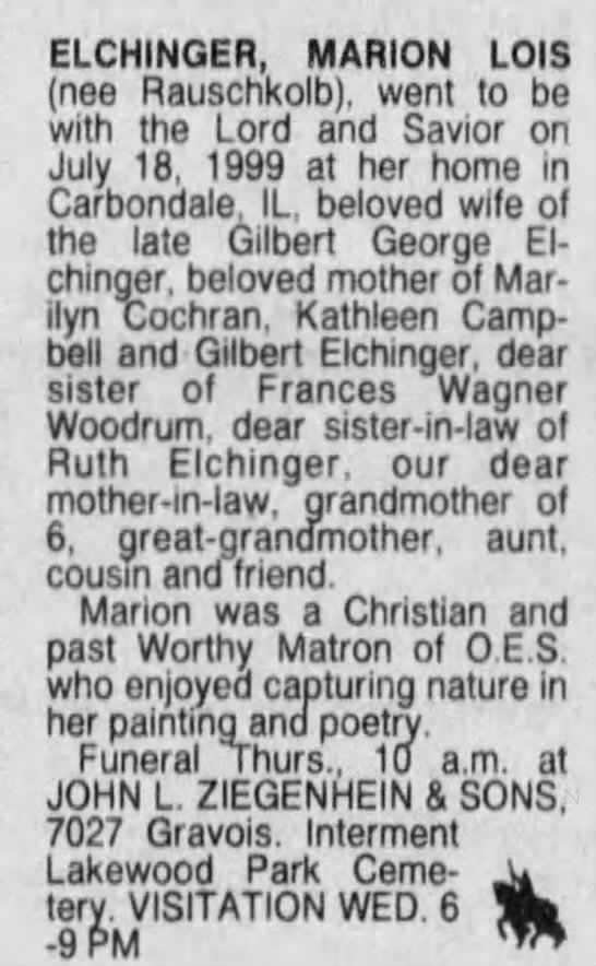Marion Lois Elchinger - St. Louis Post-Dispatch (St. Louis, Missouri)21 Jul 1999, WedPage 19 -