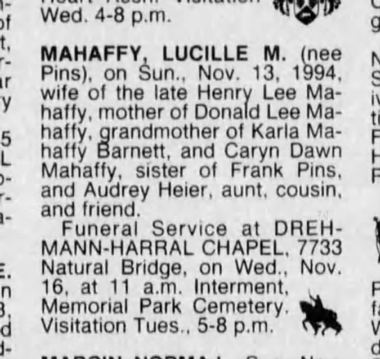 Lucille M Mahaffy, Obituary 15 Nov 1994 -