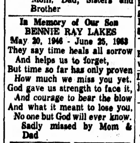 10 year memorial for Bennie Ray -