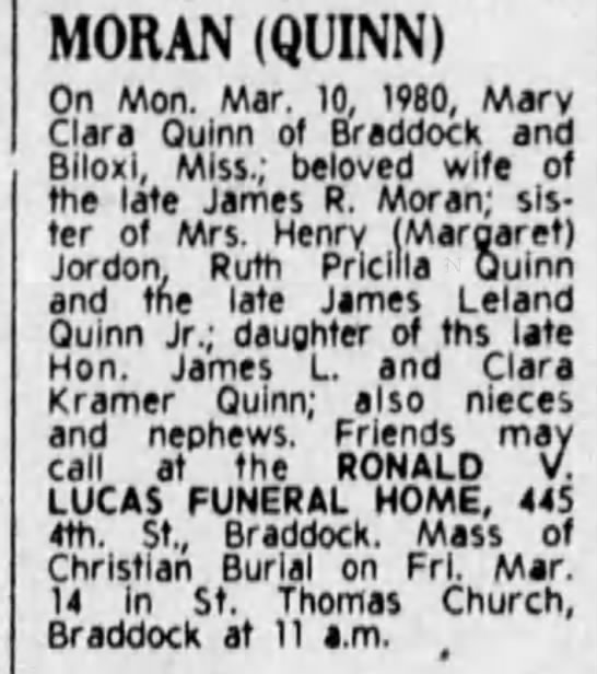 Mary Clara Quinn Moran obituary - MORAN (QUINN) On Mon. Mar. 10, 1980, Marv Clara...